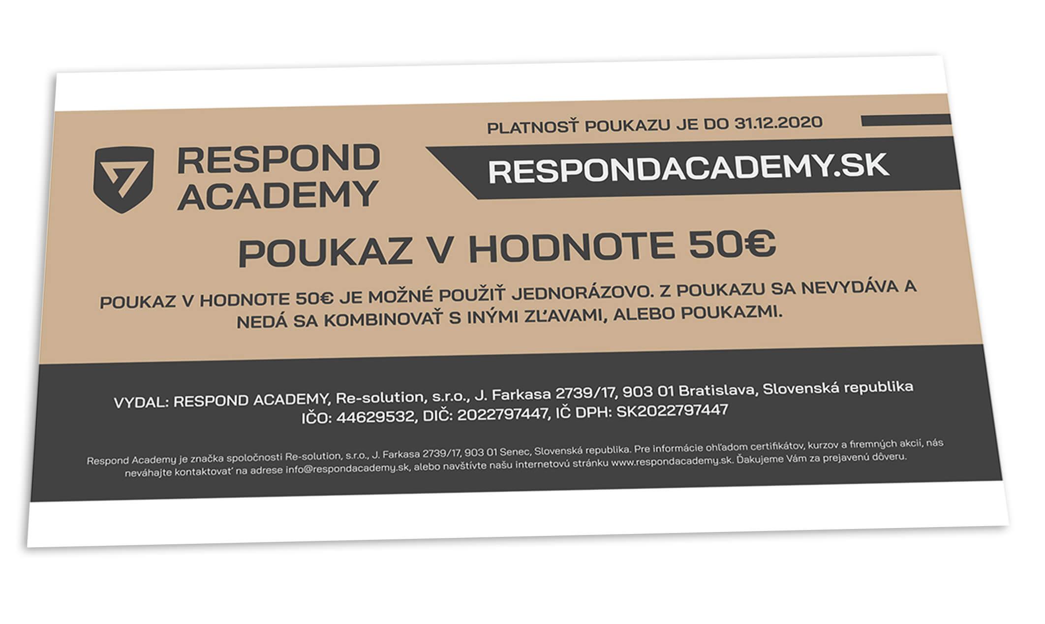 Darčeková poukážka na kurz Respond Academy